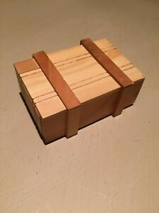 Handcrafted Wooden Trinket Box Puzzle Mystery Game Cube Money Box Brain Teaser