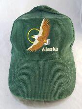 Vintage 90s Alaska Corduroy Snapback Forest Green Hat Bald Eagle