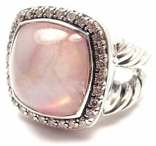 Authentic! David Yurman 925 Sterling Silver Diamonds and Moon Quartz Albion Ring