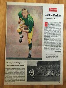 1959 PHOTO CANADIAN FOOTBALL LEAGUE CFL EDMONTON ESKIMOS JACKIE PARKER