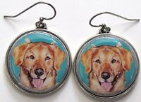 Golden Retriever Original Art Earrings