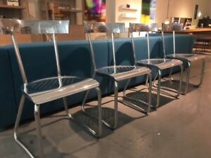Gio Ponti set of 4 aluminum D.235 Montecatini dining chairs by Molteni & C.