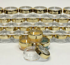 50 Cosmetic Jars Plastic Beauty Lip Balm Containers 10 Gram Ml Gold Trim Lid3012