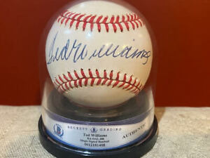 TED WILLIAMS - Signed Rawlings OAL Baseball - DARK and BOLD - Beckett encased