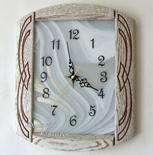 Wall clock white stained glass wooden carved oak wood creative modern exclusive