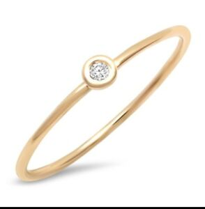 14k Yellow Gold Stackable Circle With Single Diamond Wire Ring Knuckle Ring