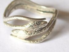 VINTAGE DOUBLE SNAKE HEAD STERLING SILVER RING BEAU , SIZE 8