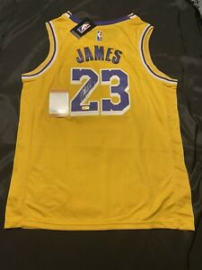 LeBron James Los Angeles Lakers Autographed Gold Nike Jersey Swing man Jersey