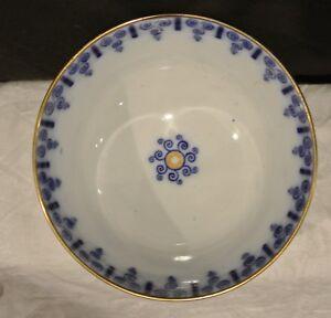 Vintage Flow Blue Gold Rim Bowl. Home Decor. Kitchen Dining Room Display