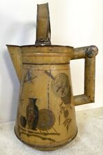 Antique Large Tin Watering Can in Mustard Yellow w Asian Design, c. 1880-1900s