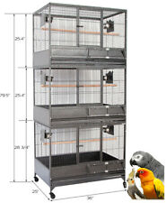 3-Stacker X-Large Wrought Iron Bird Parrot Breeder Breeding Cage With Roller