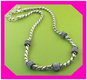 BRIGHTON MERIDIAN Black Crystal Silver Beautiful Collar Necklace NWotag $98