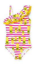 lands' End Girls Ruffle Strap One Piece  Swimsuit in Pink & White Stripe size 14