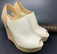 Authentic GUCCI Wedge Sole Sandals Heels #39 US 8.5 Patent Leather White Rank AB