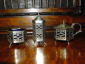 Beautiful Solid silver Cruet Set Birmingham 1924