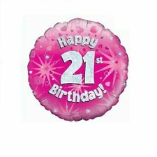 Holographic Pink 21st Birthday Foil Balloon 18 Inch