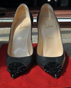 Christian Louboutin 100 High Heels Geo Pump Patent Spike Toe Size 41 8 UK Rare