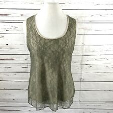 Chico's Women's Size 2  Sleeveless Top Green/Beige Lace Overlay