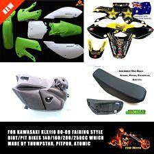 White/Green Plastics Fender Sticker Tank Seat For Kawasaki KLX110 Atomik Pitpro