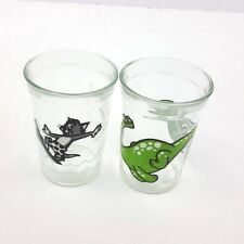 Welchs Jelly Jar Glasses Tom and Jerry Surf Brontosaurus Dinosaur Lot of 2