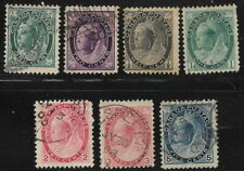 Canada, used, 7 different Queen Victoria stamps btwn #67 & #79, Issued 1897-1899