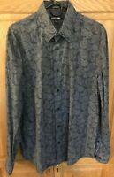 Express 1MX Mens Long Sleeve Shirt stretch Black Paisley Size Large 16 - 16 1/2