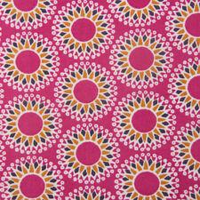 Baumwollstoff Malawa kreise Blumen Pink gelb 1 5m breite