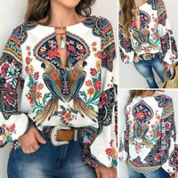 ZANZEA 10-24 Women Puff Sleeve V Neck Top Shirt Tee Bohemian Print Floral Blouse