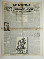 N616 La Une Du Journal Le journal 4 avril 1917 état Unis proclament guerre