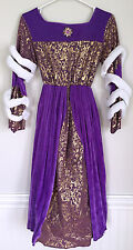 Princess Girls Kids Childrens Purple Gold Velvet Ornate Dress Costume Size 7-10
