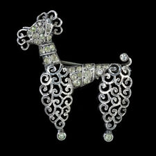 ANTIQUE FRENCH PASTE POODLE DOG BROOCH SILVER CIRCA 1900