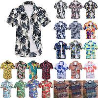 Mens Hawaiian Short Sleeve T Shirts Summer Holiday Beach Casual Floral Shirt Top