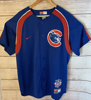 Nike Team Cubs Genuine Merchandise Blue Button Down Jersey Size Large L