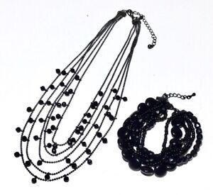 Premier Design Necklace Bead Gunmetal Multi Strand Black Layer Choker & Bracelet