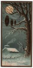 Victorian Xmas Card. 3 Owls on branch in Moonlit scene. Tu-whit, tu-who