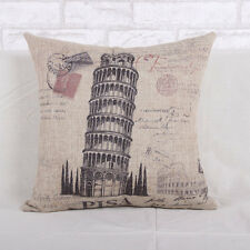 Retro Vintage Italy Leaning Tower of Pisa Linen Cushion Cover Bedroom Sofa Decor
