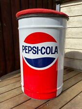 More details for vintage large pepsi cola metal stool bucket/ bin with lid & cushion 80's/ 90's
