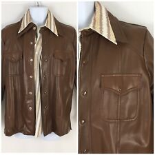 Vintage 70s Brown Polyvinyl PVC Leisure Jacket Snap Disco Western Youngbloods M