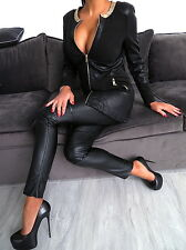 NEU LEDER OPTIK LEATHER LOOK Damen Jacke Mantel W90 Kette Blazer Coat Schwarz L