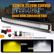 """10D Quad-Row Curved 32inch 36"""" 2520W LED Light Bar Combo Offroad SUV TRUCK 4WD"""