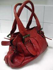 OASIS faded red leather BOHO chic HOBO DISTRESSED shoulder HANDBAG bag slouch