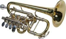 Hoch B/A Piccolo Trompete, 4 Zylinderventile, große Neusilber Garnitur, Koffer
