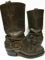 FRYE DISTRESSED BROWN LEATHER HARNESS MOTORCYCLE SLOUCH BOOTS WOMEN'S SIZE 6.5