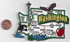 WASHINGTON WA STATE  MAP JUMBO MAGNET 7 COLOR - SEATTLE  SPOKANE  TACOMA
