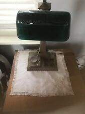 Antique Green Shade With Bronze Base Bankers Lamp With Ink Wells