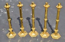 "+ Set of 5 Older Gold Plated Altar Candlesticks + 24 1/4"" + (CU#25) Church"