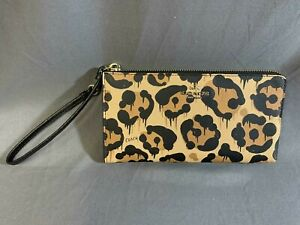 Coach X Baseman Wild Beast Leopard Cheetah Ocelot Print Zip Wristlet Wallet