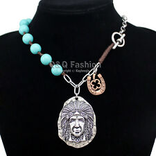 Silver Native 3D Indian Chief Horse Shoe Turquoise Toggle Zuni Chain Necklace W8