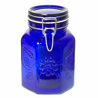 Vintage Italy Cobalt Blue Glass Latch Hinged Lid Canister Fruit Design Italian