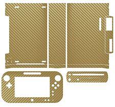 Golden Carbon Fiber Skin Sticker Cover for Nintendo Wii U Console & Controller